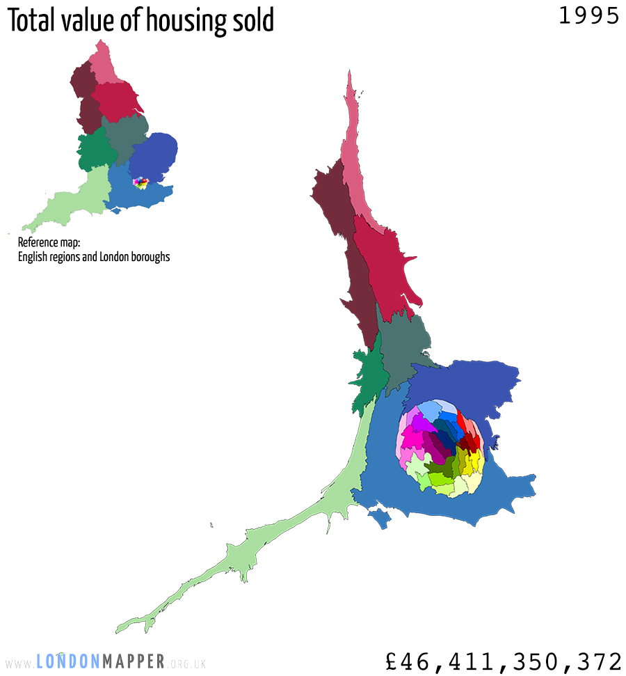 Cartogram of sold housing value in England 1995