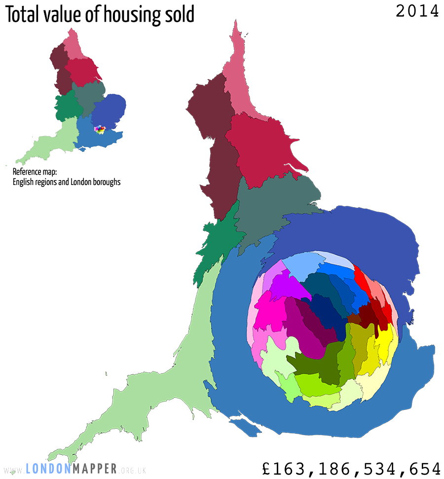 Cartogram of sold housing value in England 2014