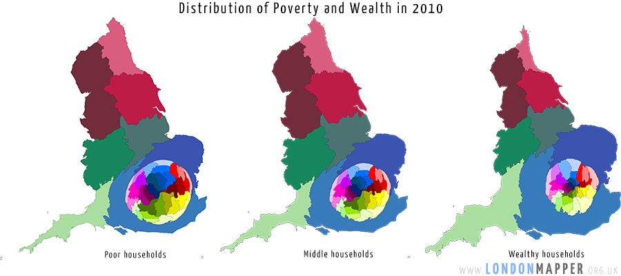 Cartogram of the distribution of poor/middle/wealthy households in London in 2010