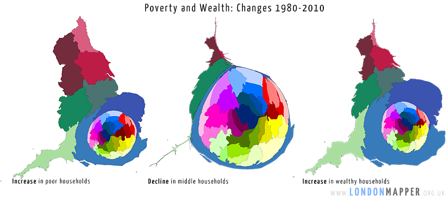 Cartogram of the distribution of changes in poor/middle/wealthy households in London between 1980 and 2010