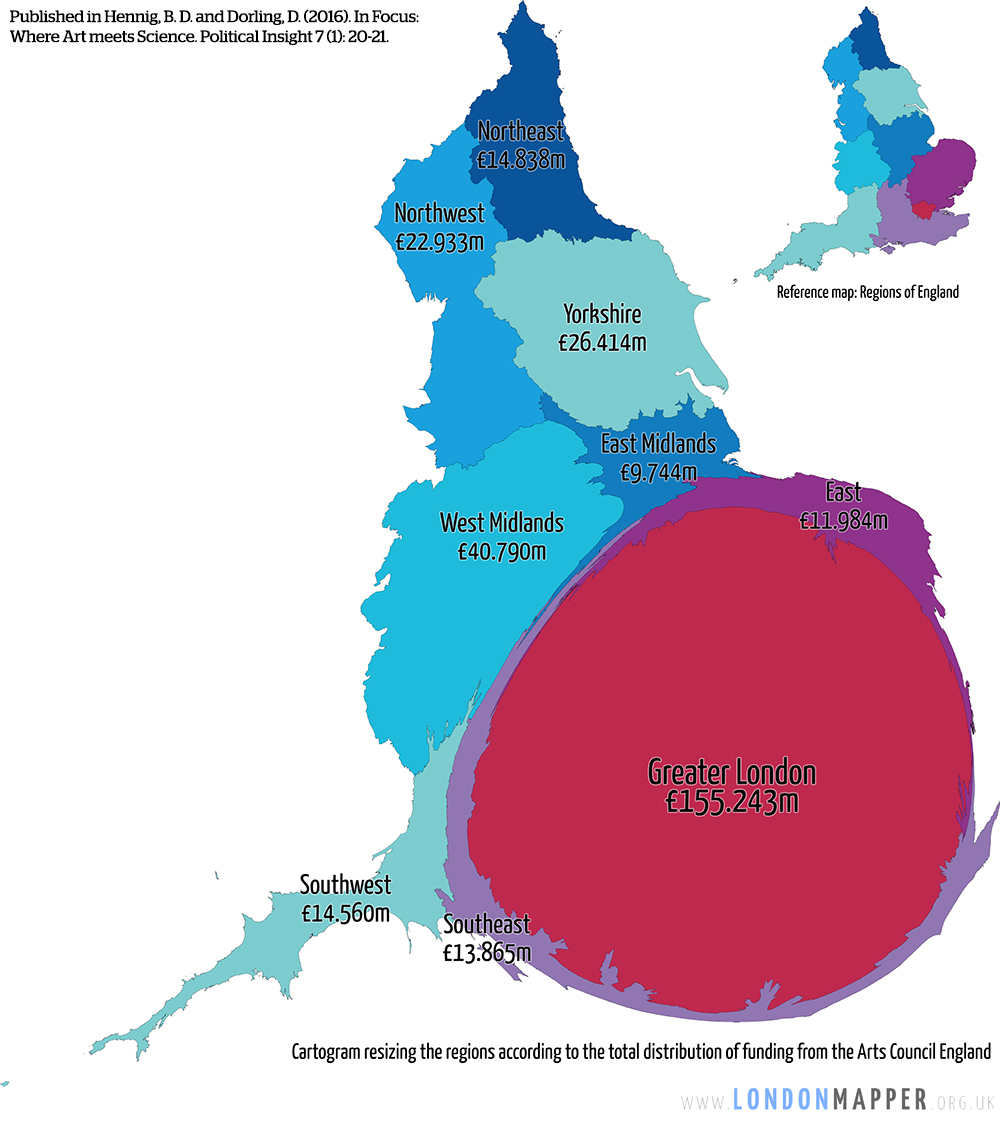 Cartogram of arts funding in England