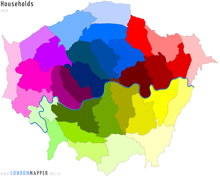 Cartogram of the distribution of Households in London