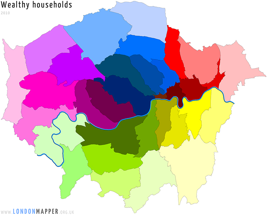 Cartogram of wealthy households in London in 2010