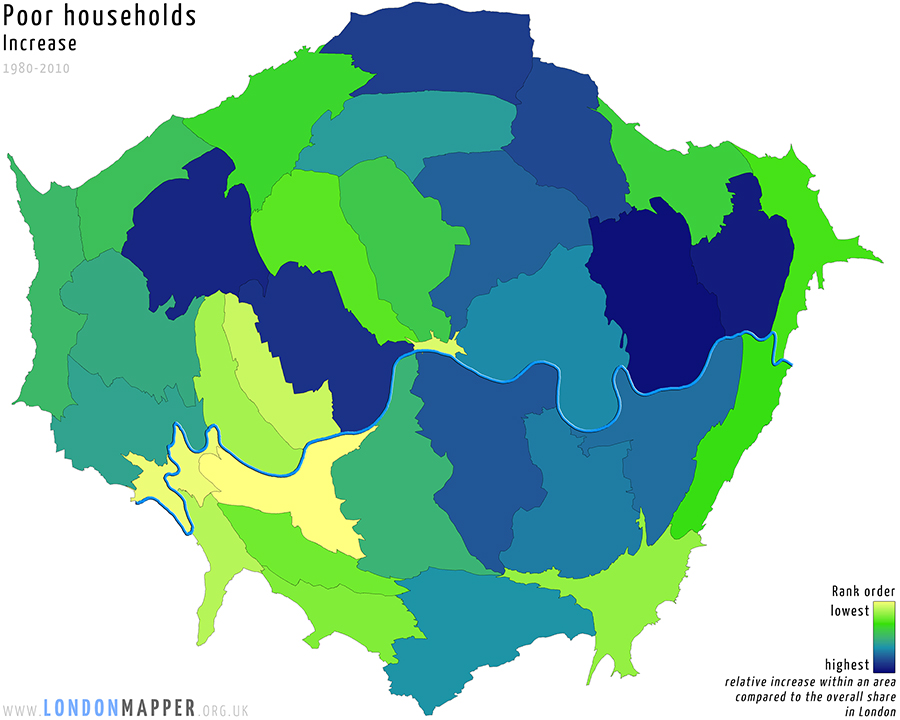 Cartogram of increase in poor households in London between 1980 and 2010