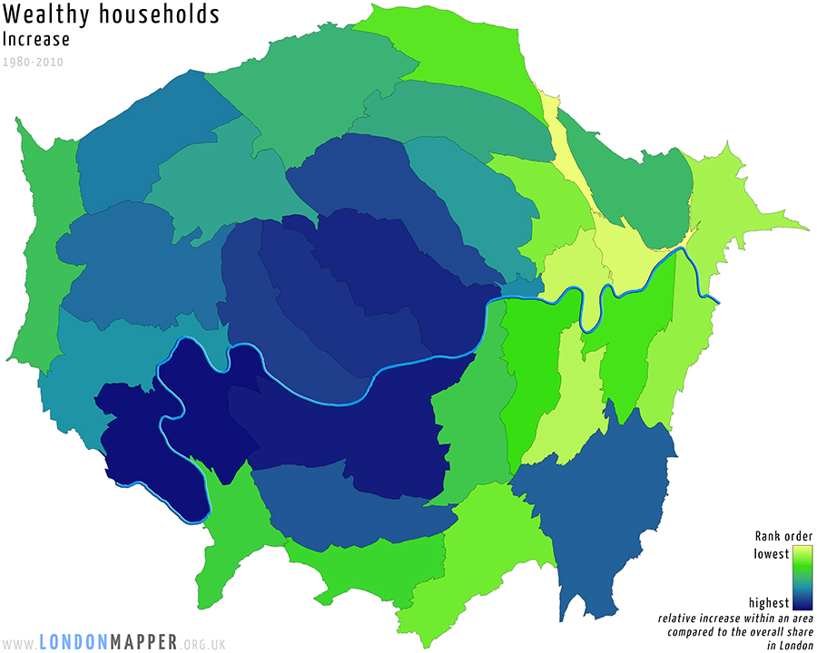 Cartogram of increase in wealthy households in London between 1980 and 2010