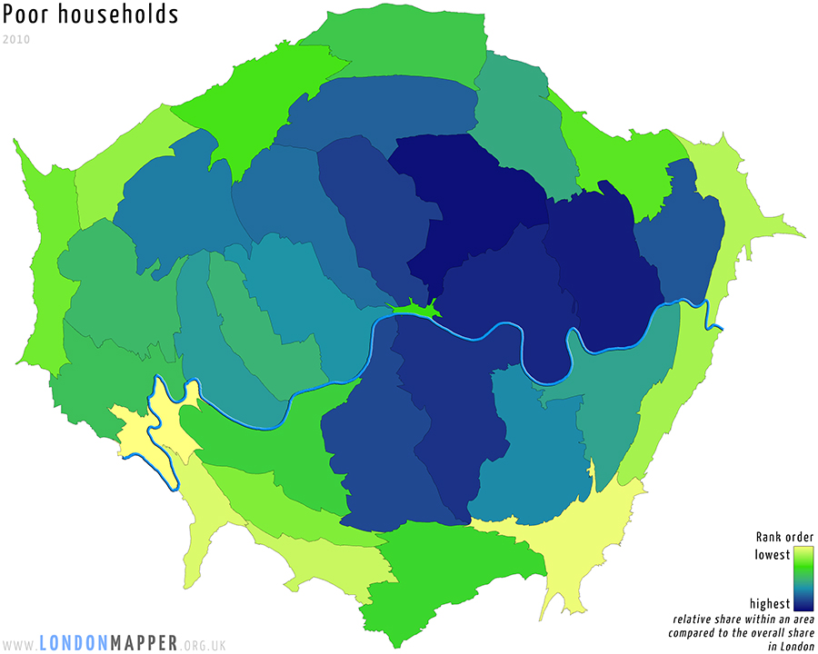Cartogram poor households in London in 2010