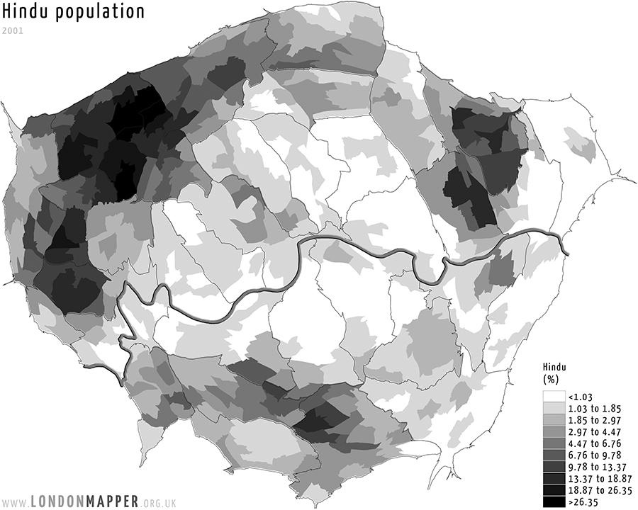 Ward Hindu population 2001 | Londonmapper